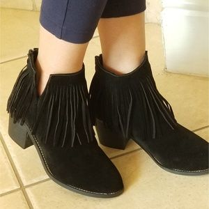 NEW!!! BLACK FAUX SUEDE FRINGE ANKLE BOOTIES